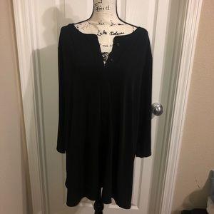 Tops - Plain Black Plus Size Blouse